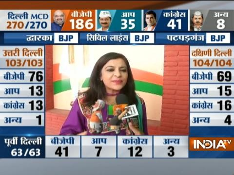BJP leader Shazia Ilmi speaks on MCD election results