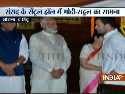 PM Modi, Rahul Gandhi pay tribute to Sardar Patel in Parliament Central Hall
