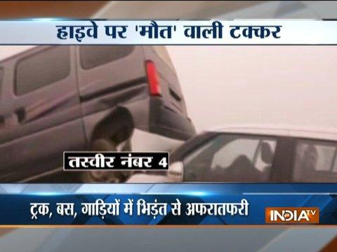 Several vehicle pile-up due to heavy smog in Palwal