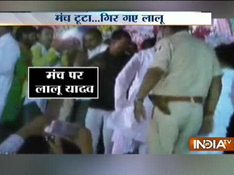 Caught On Camera: Lalu Prasad Yadav falls as stage collapses in Bihar's Arwal