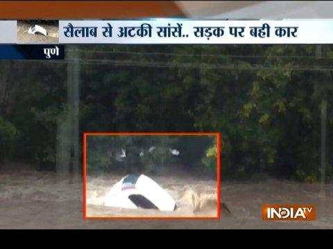 Heavy rain leads to flood like situation in parts of Pune, vehicles washed away