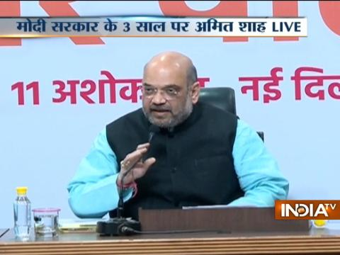 Amit Shah addresses media on 3 years of Modi Govt