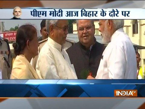 PM Modi arrives in Patna, received by Bihar CM Nitish Kumar