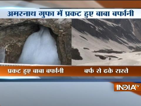 Visuals of Baba Barfani from Amarnath Shrine in Kashmir