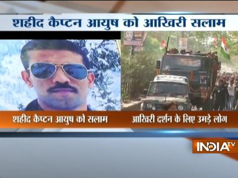 Mortal remains of Captain Ayush Yadav brought to his residence in Kanpur