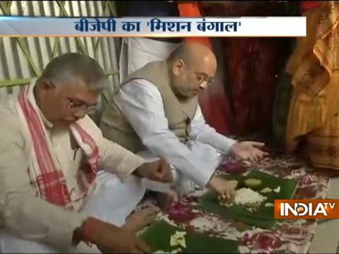 BJP president Amit Shah had lunch at a tribal's house in Naxalbari of West Bengal