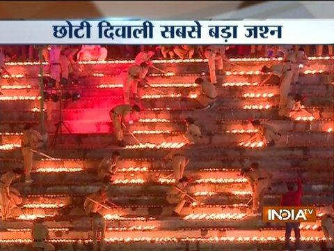 Deep Mahotsav in Ayodhya: Record 1.71 lakh earthen lamps lit on ghats of Sarayu river
