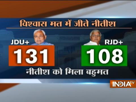 Bihar CM Nitish Kumar wins floor test, gets 131 votes in favour