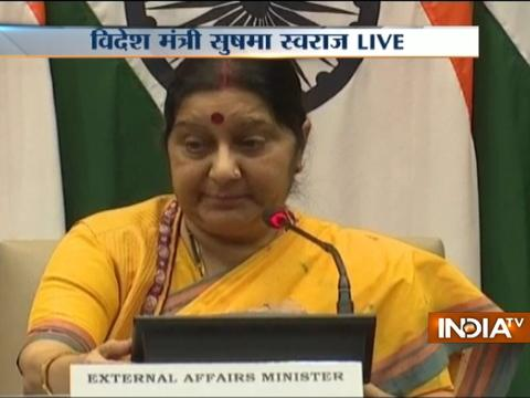 Sushma Swaraj addresses a joint press conference with Uzma, who returned from Pakistan