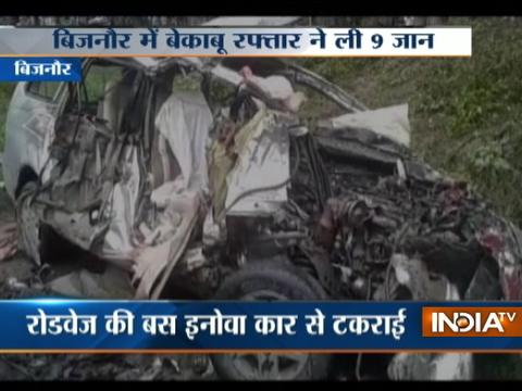 UP: 9 killed, several injured after bus collides with car in Bijnor
