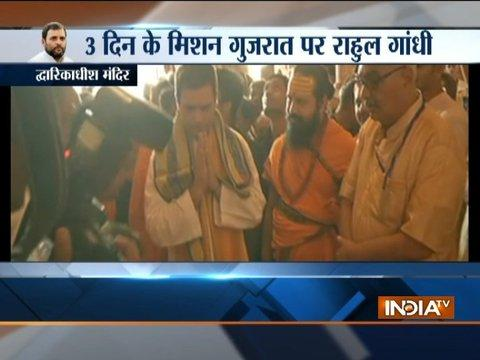 Congress Vice President Rahul Gandhi offers prayers at Dwarkadhish Temple in Dwarka