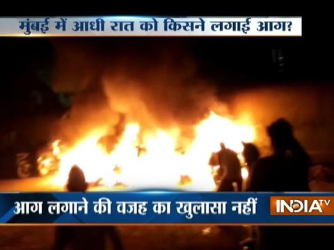Miscreants set several car on fire at parking lot in Mumbai