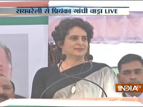 Priyanka Gandhi Vadra addresses an election rally in Raebareli