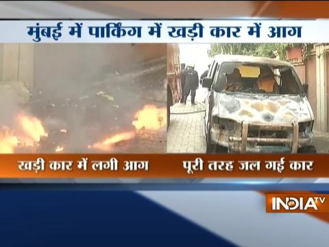 Car standing in parking catches fire in Mumbai