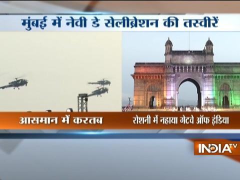 Mumbai: Beating the Retreat ceremony underway as part of the Navy Day