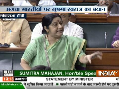 Declaring someone dead without proof is a sin, says Sushma Swaraj in the parliament
