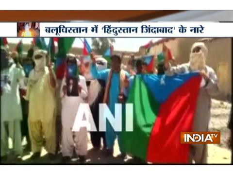 Indian flag along with PM Modi's picture raised during protests in Balochistan