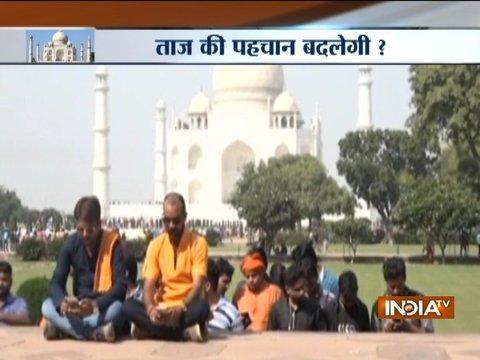 Rashtriya Swabhimaan Dal leaders recite Shiv Chalisa inside Taj Mahal premises