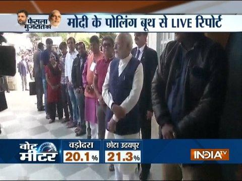 PM Modi casts his vote at booth number 115 in Sabarmati's Ranip