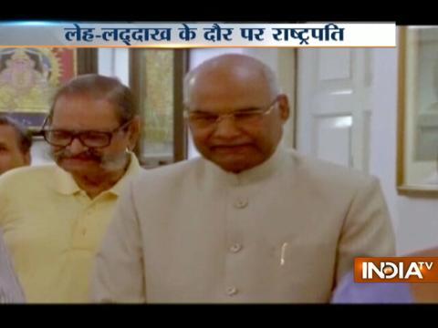 President Ram Nath Kovind arrives in Leh