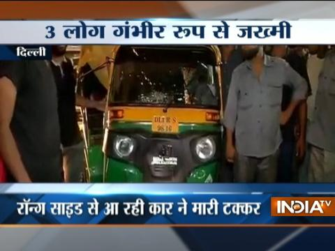 Delhi: Three critically injured as speeding swift collides with auto,car