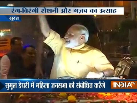 Surat glitters as PM Modi holds a mega roadshow