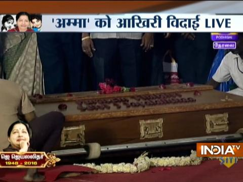 Jayalalithaa Buried In Sandalwood Casket Next To Mentor MGR