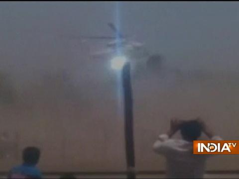 Visuals of crash-landing of Maharashtra CM Devendra Fadnavis's chopper in Latur