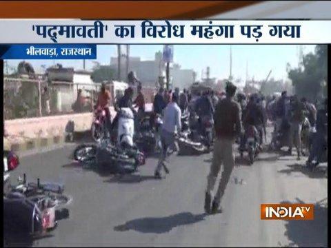 Padmavati row: Police lathi charge Karni Sena workers protesting in Madhya Pradesh's Bhilwara