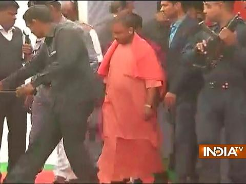 Yogi Adityanath arrives in Lucknow to assess the situation ahead of his oath-taking ceremony
