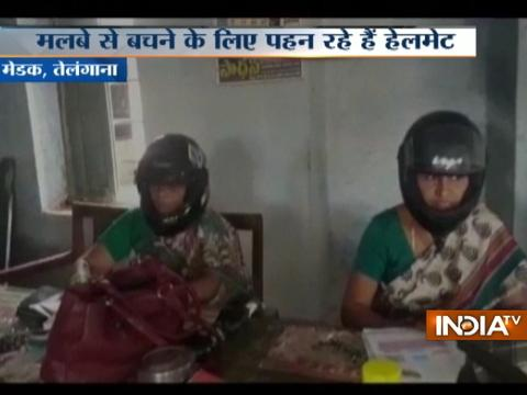 Telangana: Teachers stage 'helmet protest' against poor infrastructure of the school