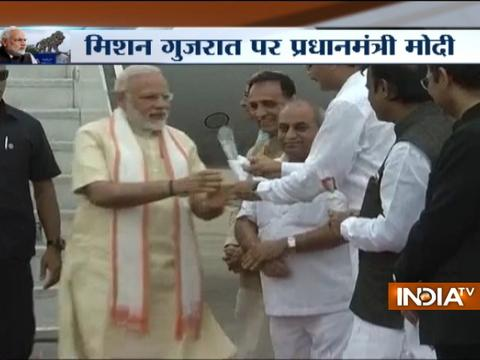 PM Modi reaches Ahmedabad on his two-day visit to Gujarat