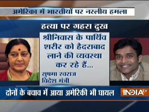 Sushma Swaraj expresses grief on death of Indian Engineer at Kansas bar