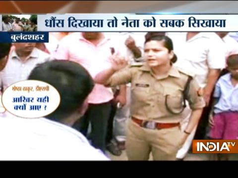 Lady officer shut down BJP supporters for supporting leader accused of violating traffic rule