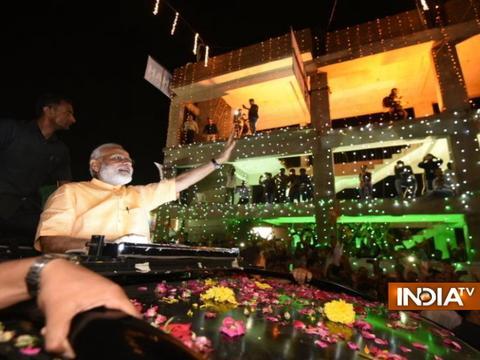 Gujarat: PM Modi's roadshow in Surat; a bikers rally escorting him to the circuit house