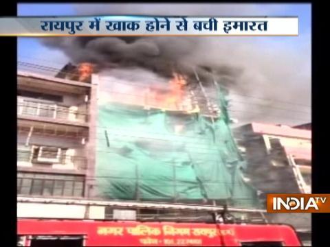 Fire breaks out in an underconstruction building in Raipur
