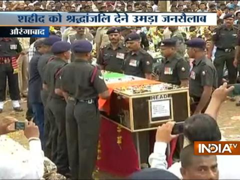 Last rite Army jawan Sandeep Jadhav being performed in his village in Aurangabad, Maharashtra