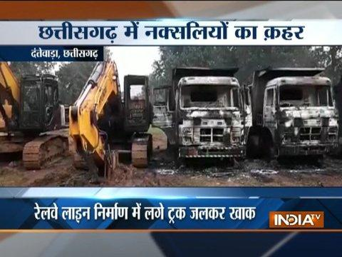 Chhattisgarh: Naxals set five trucks on fire in Dantewada