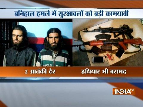2 terrorists apprehended by J&K Police from Banihal, weapons recovered