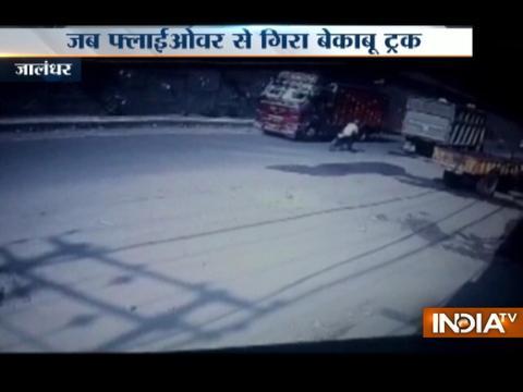 CCTV: Overloaded truck falls on auto rickshaw in Jalandhar