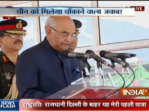 President Ram Nath Kovind addresses Ladakh Scouts regiment in Leh