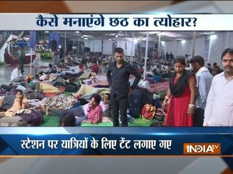 Passengers suffer as train running late on Chhath Puja