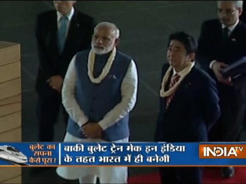 PM Modi & Japanese PM Shinzo Abe visit Dandi Kuteer in Gandhinagar