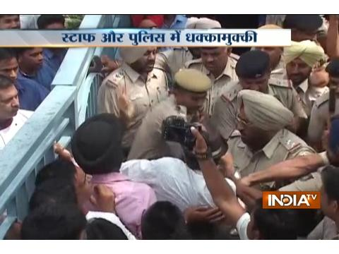 Police scuffle with staff while sealing property of Park Plaza in Chandigarh
