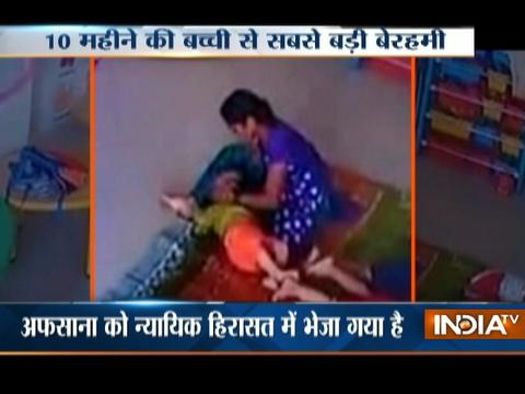 Caught on Camera: Lady care-taker brutally tortures 10-month old baby in a play school