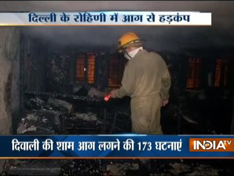Six shops were destroyed in Rohini's Sector-17 after a major fire broke out