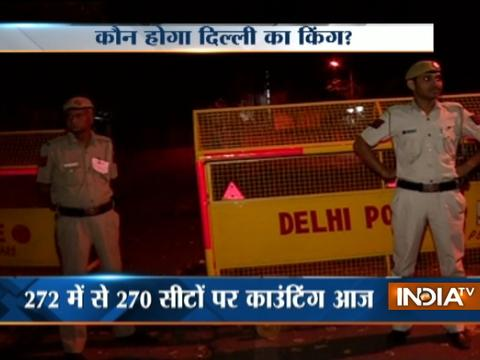 MCD results 2017: Cops guard counting centres near Gole Market in Delhi