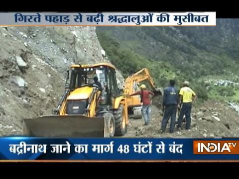 Massive landslide on Badrinath highway leaves several pilgrims stuck