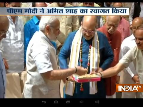 PM Modi welcomes newly elected RS member Amit Shah ahead of BJP Parliamentary party meeting