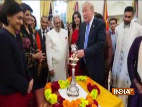 US President Donald Trump celebrates Diwali in Oval office